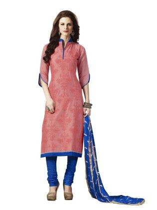 Peach Embroideried Dress Material - Touch Trends Ethnic