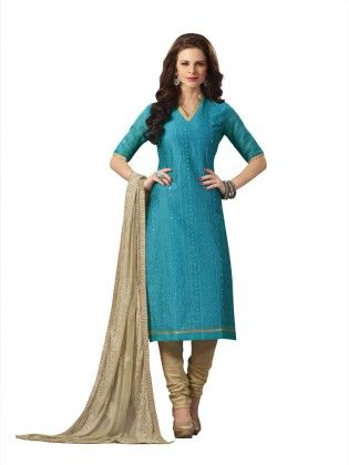 Sky Blue Embroideried Dress Material - Touch Trends Ethnic