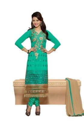 Turquoise Embroideried Dress Material - Touch Trends Ethnic