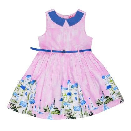 Gathered Dress In Border Print With Cotrast Collar And Belt - Pink - Nauti Nati