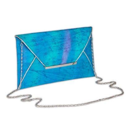 Blue Aqua Tiedye Envelope Hand Bag - Arancia