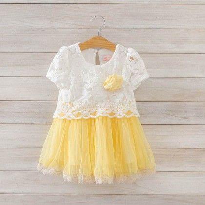Pretty Sunflower Yellow Cut Lace Dress - Petite Kids