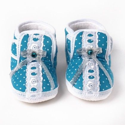 Wonderkids Baby Booties With Velcro Closure - Sky Blue & White
