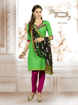 Green Embroideried Dress Material - Touch Trends Ethnic - 190033