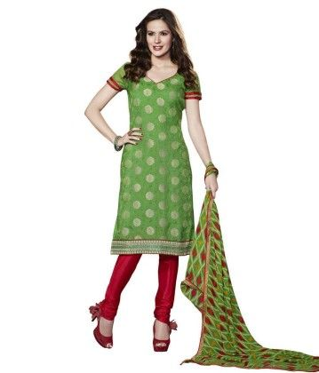 Green Embroideried Dress Material - Touch Trends Ethnic - 190011