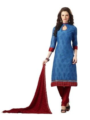 Blue Embroideried Dress Material - Touch Trends Ethnic