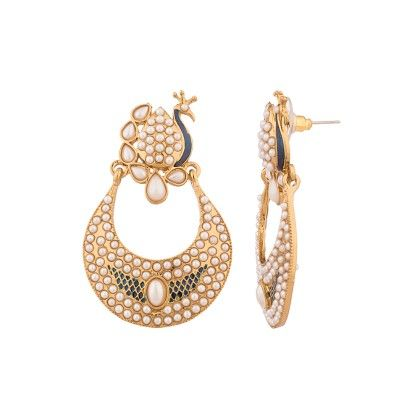 Voylla Spectacular Earrings With Embeliishments Of Pearl Beads And Crystals