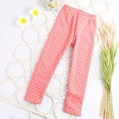 Peach Polka Dotted Leggings - Jazzy Snazzy