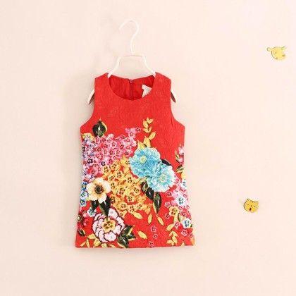 Red Jacquard Straight Cut Dress - Petite Kids