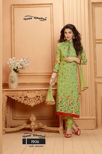 Green And Red Floral Dress Material - Fashion Fiesta