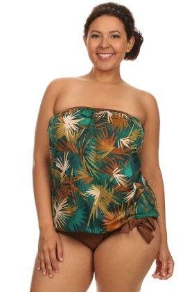 2 Pc Plus Size Blouson Tankini-grnleaves - Dippin Daisy