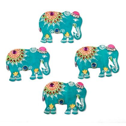 Colorfull Elephant Floor Rangolli Set Of 8 2 - Color Crave