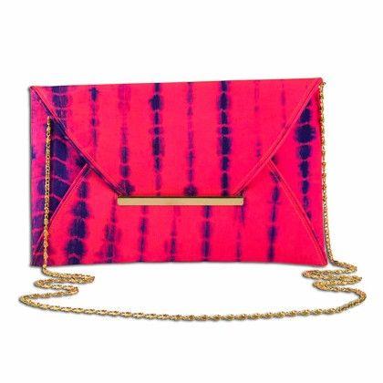 Pink Blue Tiedye Envelope Hand Bag - Arancia
