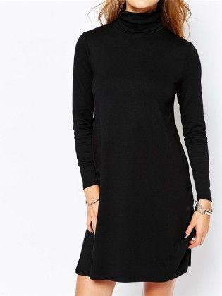 Black High Neck Long Sleeve Knit Sweater Dress - She In