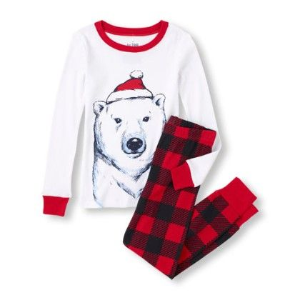 Long Sleeve Polar Bear Top And Checked Pants Pj Set - White - The Children's Place