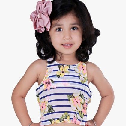 Blue And White Strip Crop Top With Flower Print - Oh Baby