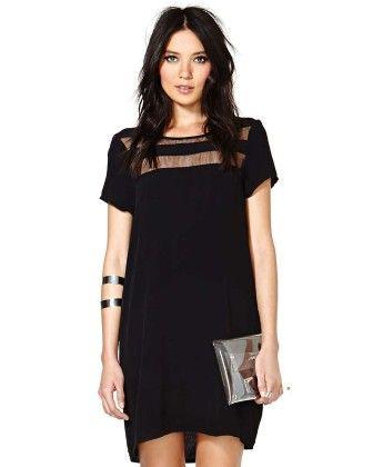 Black Contrast Sheer Short Sleeve Loose Dress - She In