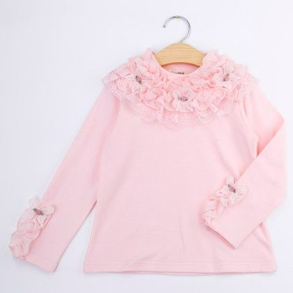 Pink Lace Neck Winter Top - Bella