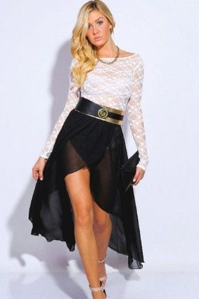 White Lace  Top With Wrap Black Skirt - Enigma