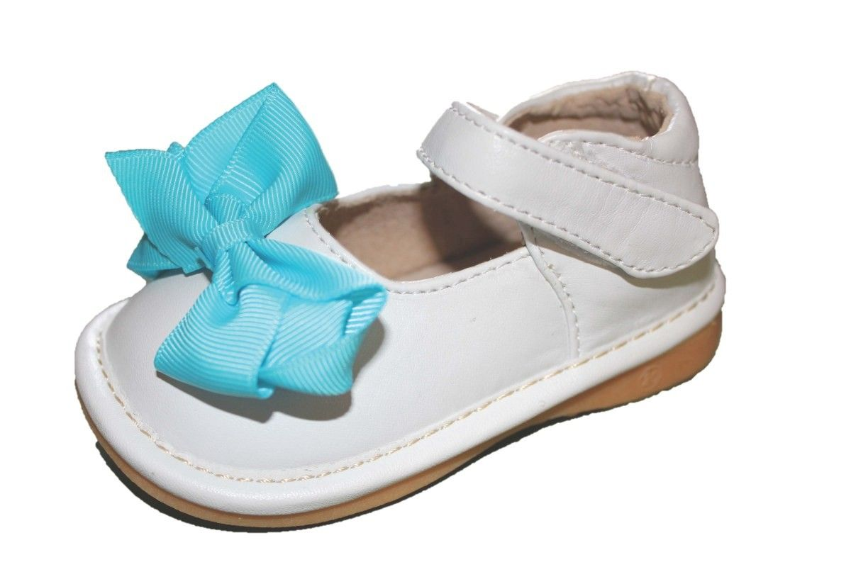3bc032f9af Hopscotch - Laniecakes - White Squeaky Mary Janes with Removable Teal Bows