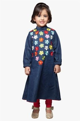 Style Stone Floral Embroidered Denim Kurta With Leggings - StyleStone