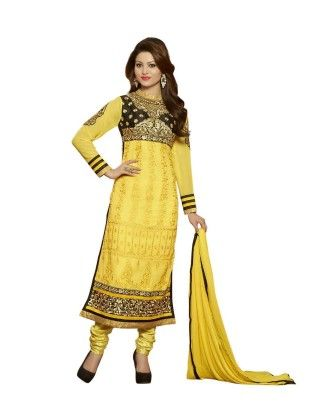 Yellow Embroideried Dress Material - Touch Trends Ethnic