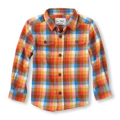 Long Sleeve Plaid Brushed Twill Button-down Shirt - Dk Honey - The Children's Place