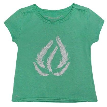 Celestine Short Sleeve T-shirt With Feather Print Green - Chateau De Sable