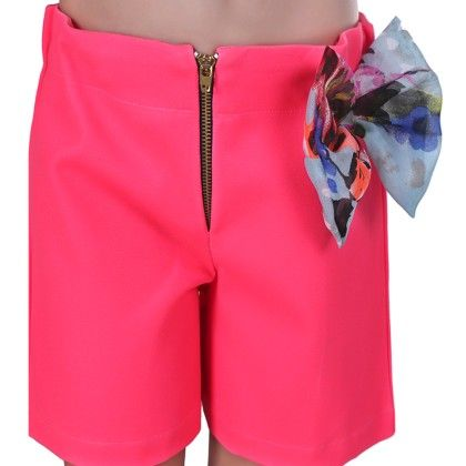 Pink Front Zip Shorts With Bow - Oh Baby