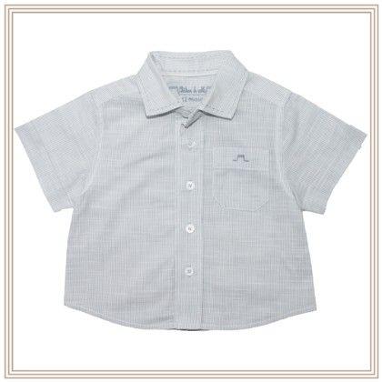Louis Boy Short Sleeve Shirt Light Blue & White Stripe - Chateau De Sable