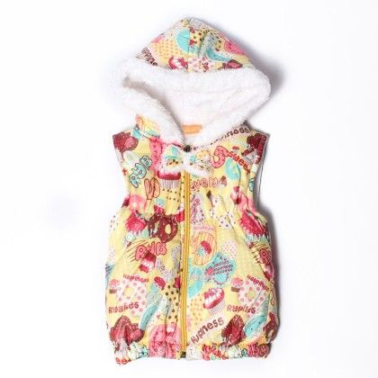 Printed Yellow And White Fur Hooded Havy Quilted S/l Jacket Style - Little Kangaroos