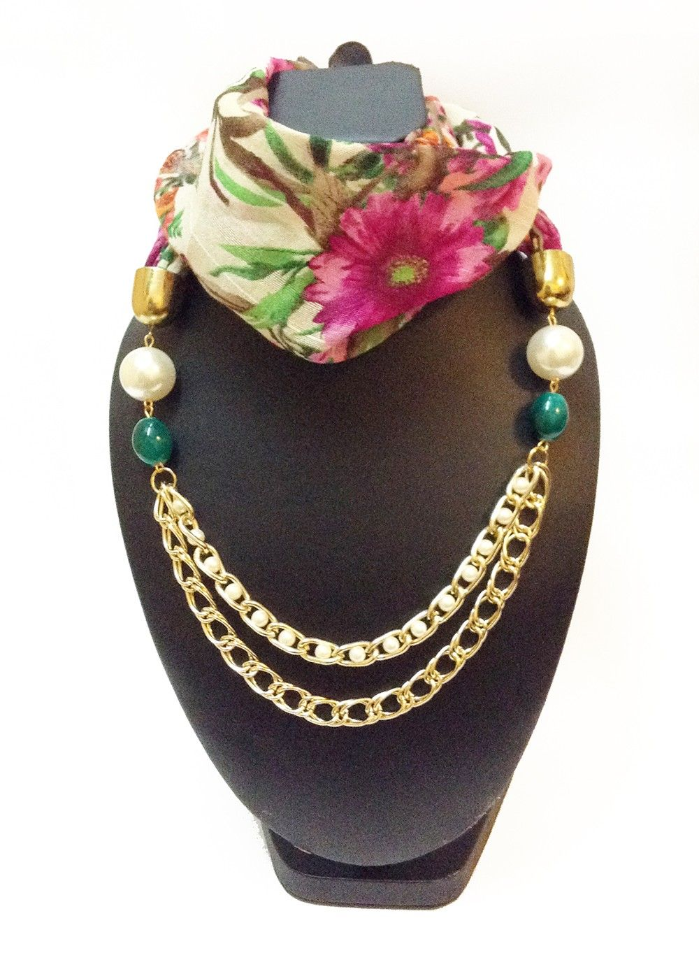 Raw Silk Cream Floral Printed Necklace Scarf - Lime