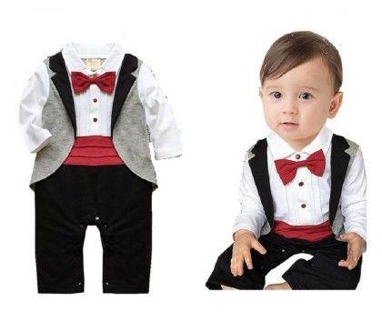 Baby Boy Party Romper Suit - Black & Red - Petite Kids