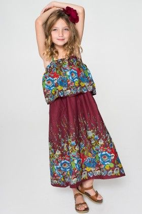 Burgundy & Blue Floral Layered Maxi Dress - Toddler & Girls - Yo Baby