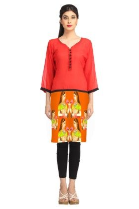 Avya Orange Digitally Printed Georgette Kurti