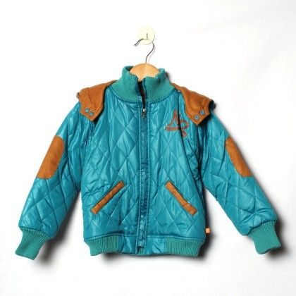 Teal Hooded Havy Quilted Full Sleeve With Full Embroidery Jacket - Little Kangaroos