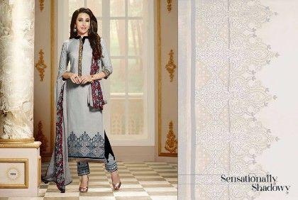 Grey Plazzo Style Dress Material - Fashion Fiesta