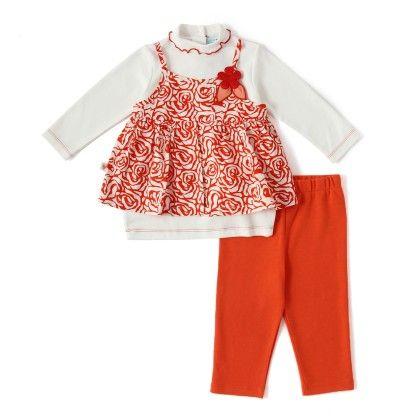 Set Of 2 Longsleeve Tunic & Legging & Blouse -off White & Orange Print - WWW