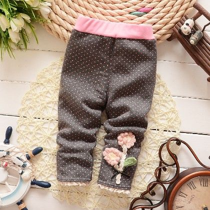 Floral Applique Baby Legging Warm Fleece Thick Liner Bottom- Gray - Jazzy Snazzy