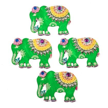 Colorfull Elephant Floor Rangolli Set Of 8 1 - Color Crave