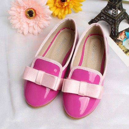 Satin Bow Pink Shiny Ballerinas - Zebeggi