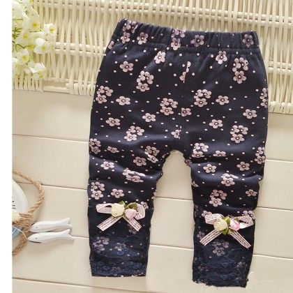 Navy Floral Lace Lowers - Lil Mantra