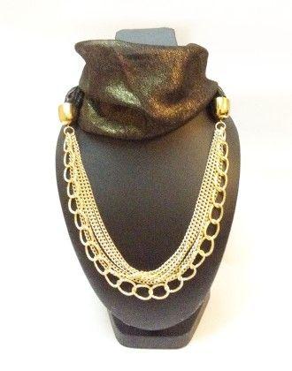 Shimmer Georgette Black Necklace Scarf - Lime