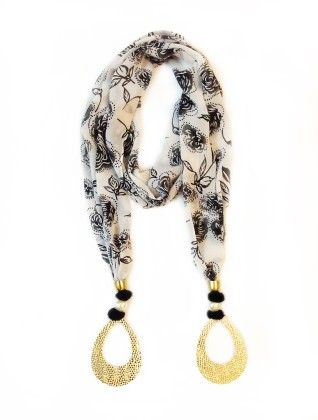 Georgette Black And White Floral Printed Jewelled Scarf - Lime