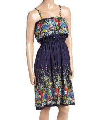 Navy & Red Floral Layered Maxi Dress - Women - Yo Baby