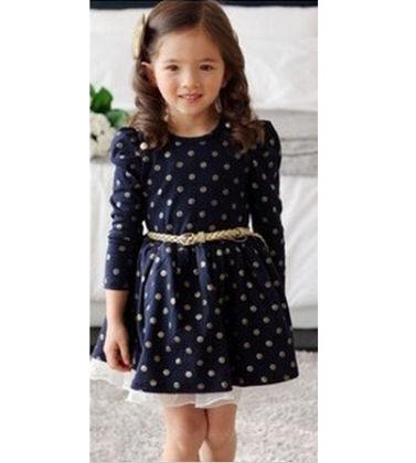 Long Sleeve Polka Dot Dress With Belt - Adores