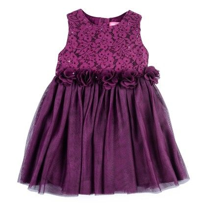 Lace And Net Gathered Dress With 3d Flowers - Brown - Nauti Nati
