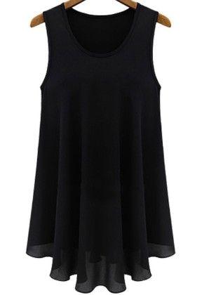 Black Sleeveless Round Neck Chiffon Dress - She In