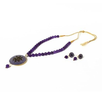 Purple Necklace With Ear Rings 1 - Latitude - The Design Studio