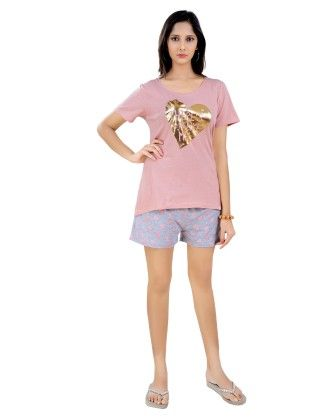 Salmon Top With Heart Printed Full Pyjama And Shorts Set (3pc Set) - Sheer Love